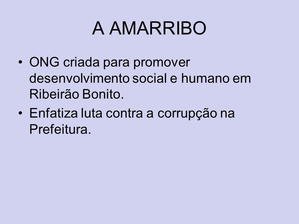 A AMARRIBO ONG criada para promover desenvolvimento social e humano em Ribeirão Bonito. Enfatiza luta contra a corrupção na Prefeitura.