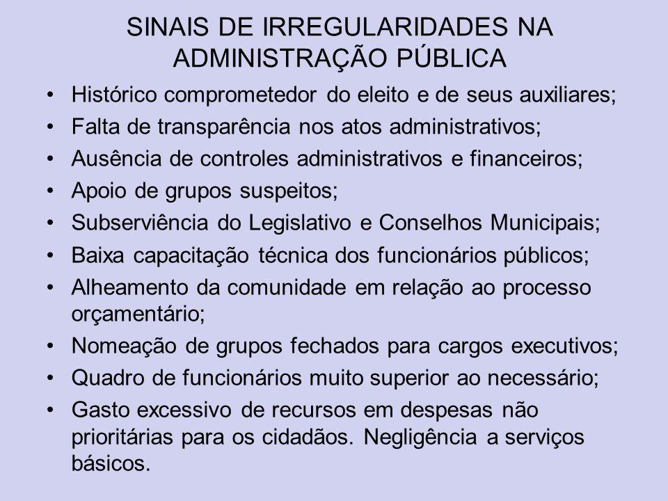 SINAIS DE IRREGULARIDADES NA ADMINISTRAÇÃO PÚBLICA Histórico comprometedor do eleito e de seus auxiliares; Falta de transparência nos atos administrat