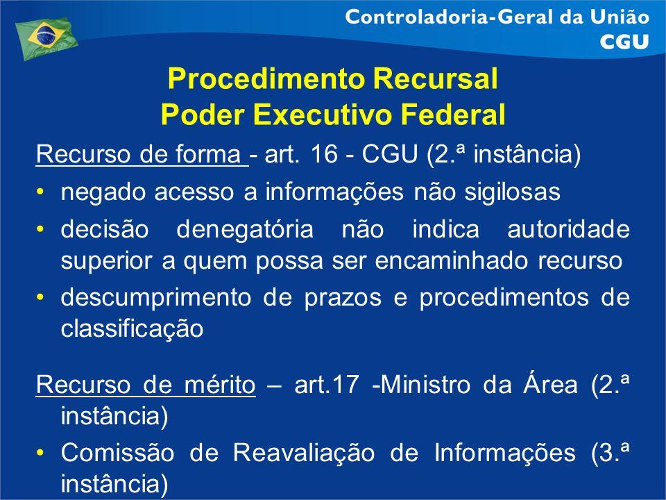 Procedimento Recursal Poder Executivo Federal Recurso de forma - art. 16 - CGU (2.ª instância) negado acesso a informações não sigilosas decisão deneg