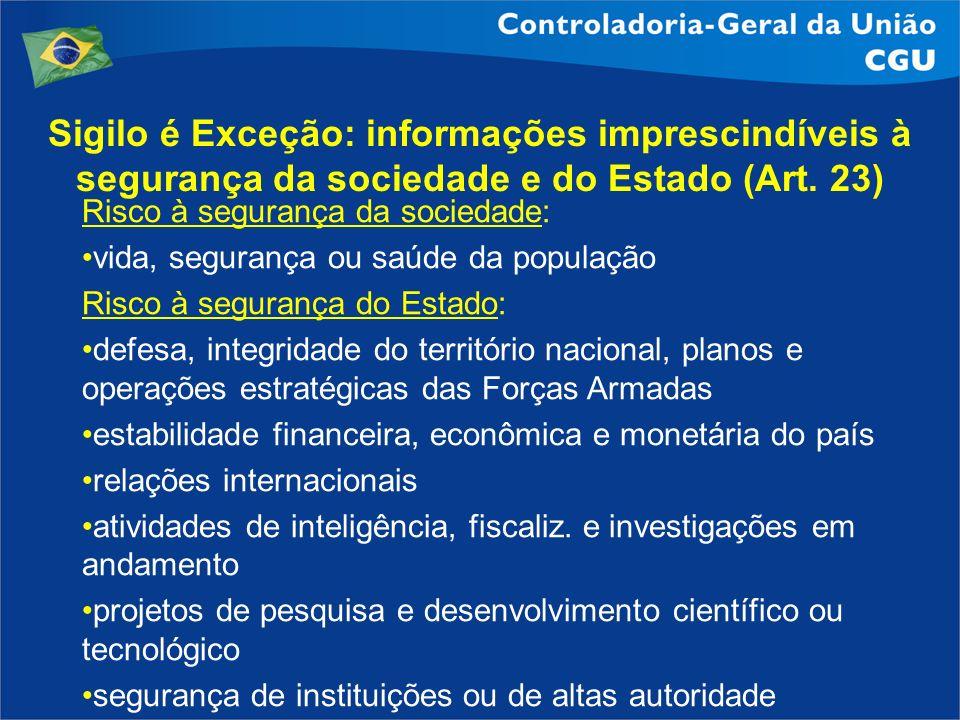 Sigilo é Exceção: informações imprescindíveis à segurança da sociedade e do Estado (Art. 23) Risco à segurança da sociedade: vida, segurança ou saúde
