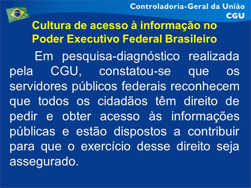 Cultura de acesso à informação no Poder Executivo Federal Brasileiro Em pesquisa-diagnóstico realizada pela CGU, constatou-se que os servidores públic