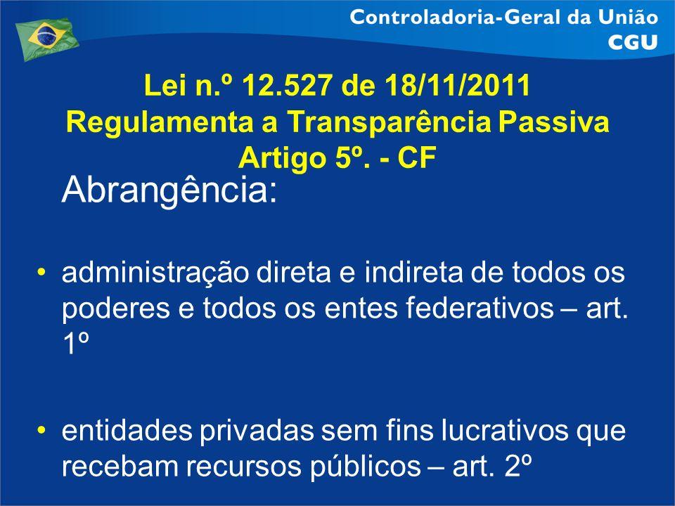 Lei n.º 12.527 de 18/11/2011 Regulamenta a Transparência Passiva Artigo 5º. - CF Abrangência: administração direta e indireta de todos os poderes e to