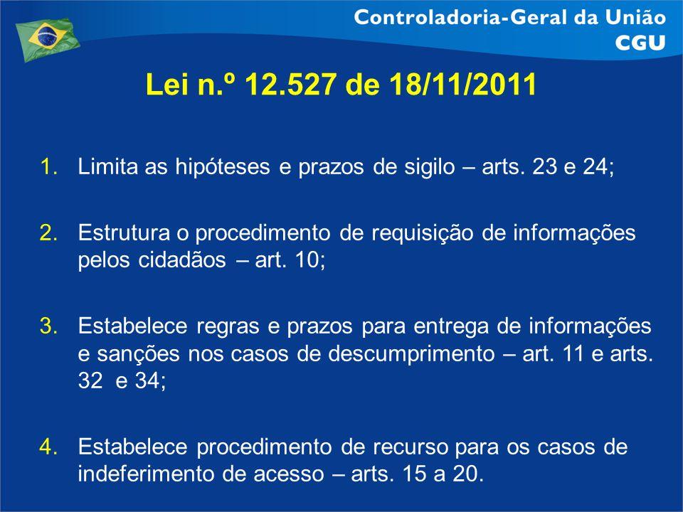 1.Limita as hipóteses e prazos de sigilo – arts. 23 e 24; 2.Estrutura o procedimento de requisição de informações pelos cidadãos – art. 10; 3.Estabele