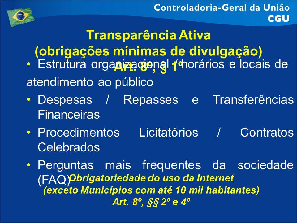 Transparência Ativa (obrigações mínimas de divulgação) Art. 8º, § 1º Estrutura organizacional / horários e locais de atendimento ao público Despesas /