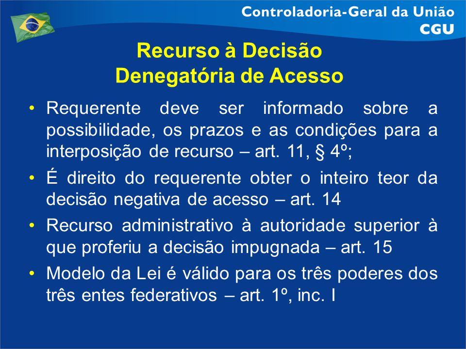 Recurso à Decisão Denegatória de Acesso Requerente deve ser informado sobre a possibilidade, os prazos e as condições para a interposição de recurso –