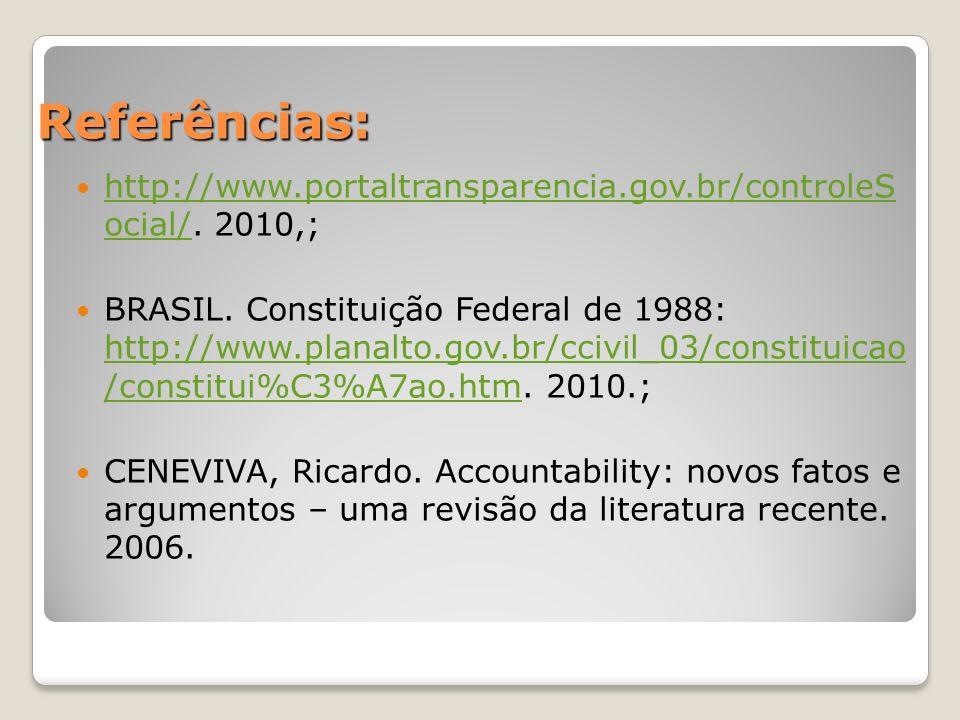 Referências: http://www.portaltransparencia.gov.br/controleS ocial/.