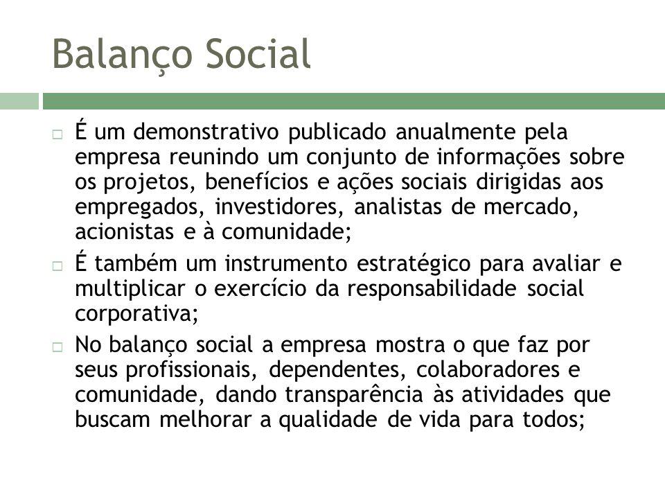 Balanço Social Sua função principal é tornar pública a responsabilidade social empresarial, construindo maiores vínculos entre a empresa, a sociedade e o meio ambiente.