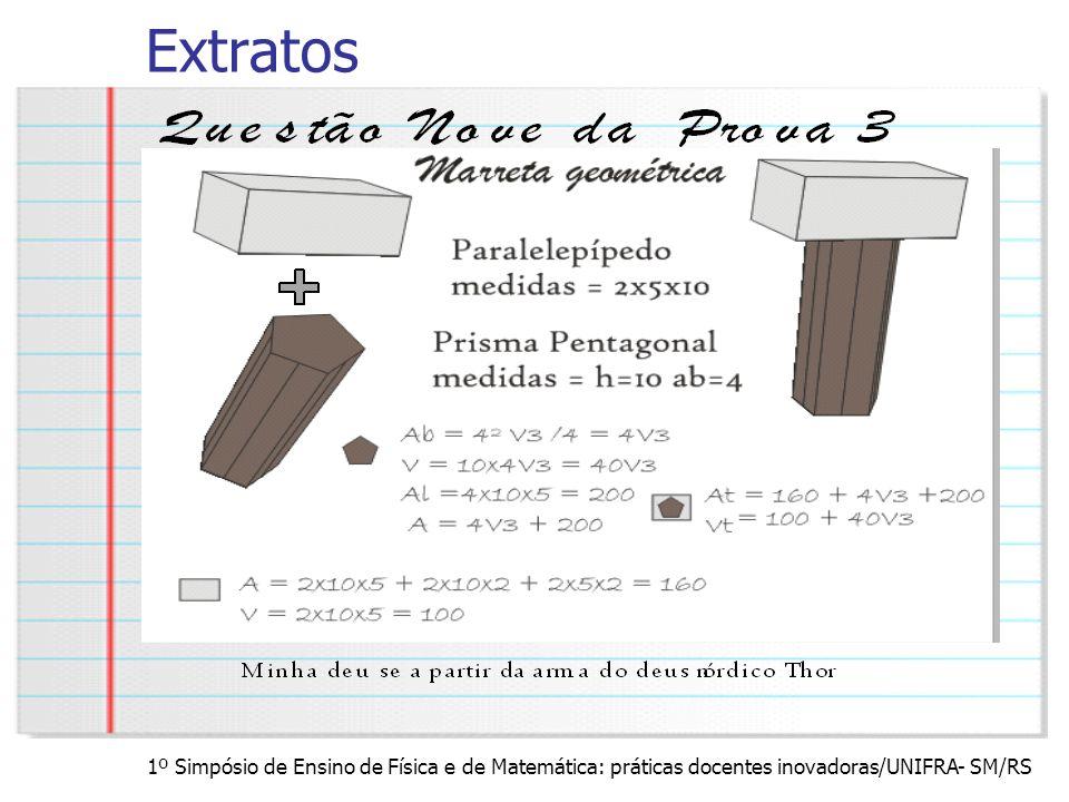 1º Simpósio de Ensino de Física e de Matemática: práticas docentes inovadoras/UNIFRA- SM/RS Extratos