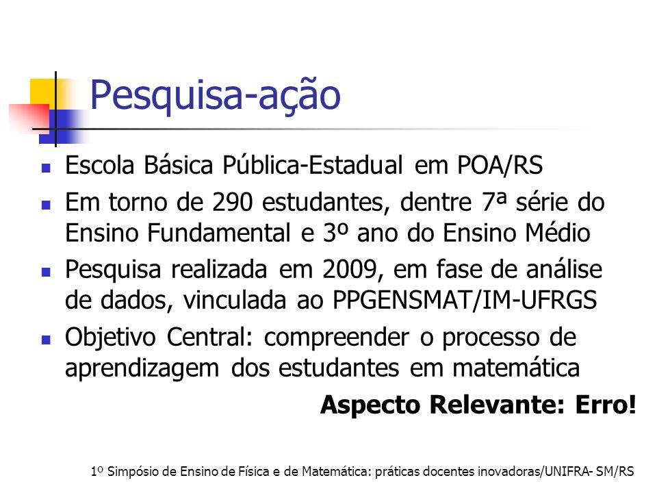 1º Simpósio de Ensino de Física e de Matemática: práticas docentes inovadoras/UNIFRA- SM/RS Pesquisa-ação Escola Básica Pública-Estadual em POA/RS Em