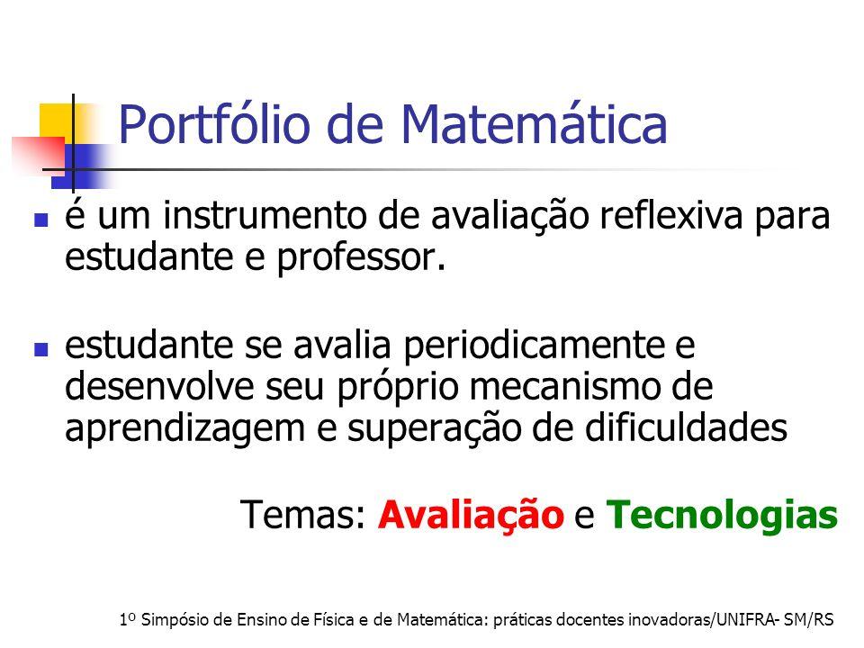 1º Simpósio de Ensino de Física e de Matemática: práticas docentes inovadoras/UNIFRA- SM/RS Portfólio de Matemática é um instrumento de avaliação refl