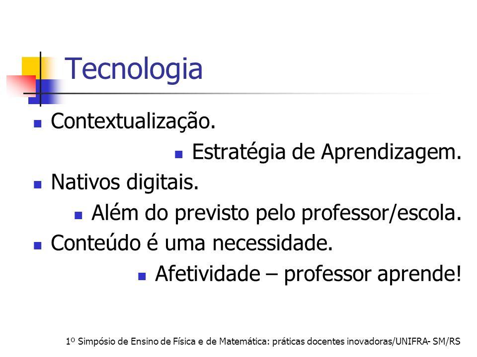 1º Simpósio de Ensino de Física e de Matemática: práticas docentes inovadoras/UNIFRA- SM/RS Tecnologia Contextualização. Estratégia de Aprendizagem. N
