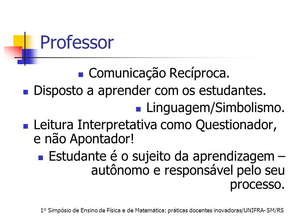 1º Simpósio de Ensino de Física e de Matemática: práticas docentes inovadoras/UNIFRA- SM/RS Professor Comunicação Recíproca. Disposto a aprender com o