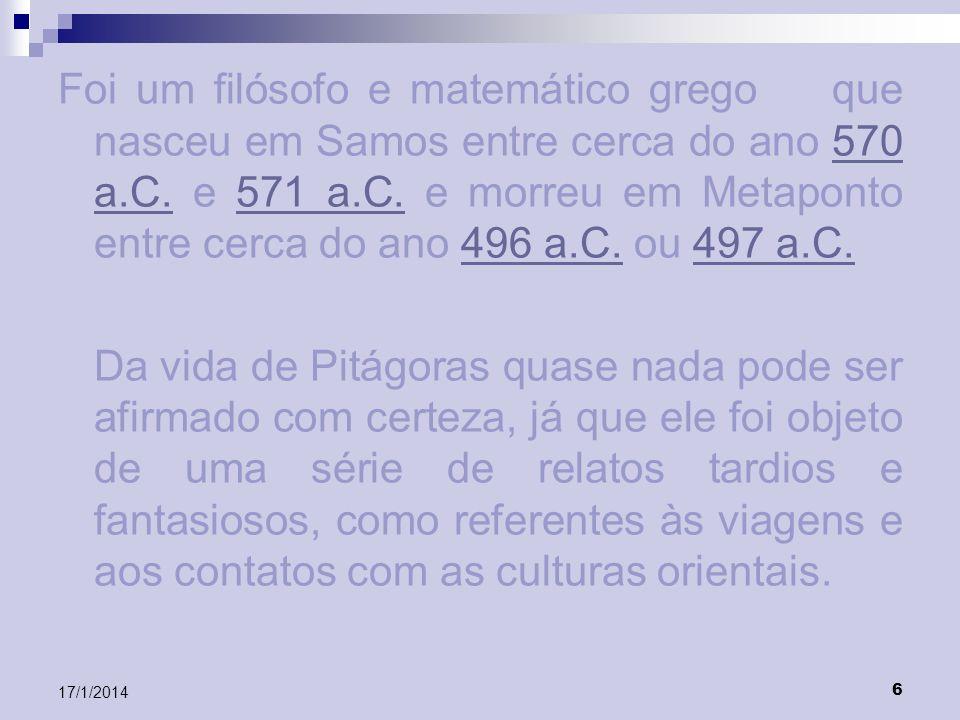 7 17/1/2014 A palavra Matemática (Mathematike, em grego) surgiu com Pitágoras, que foi o primeiro a concebê-la como um sistema de pensamento, fulcrado em provas dedutivas.