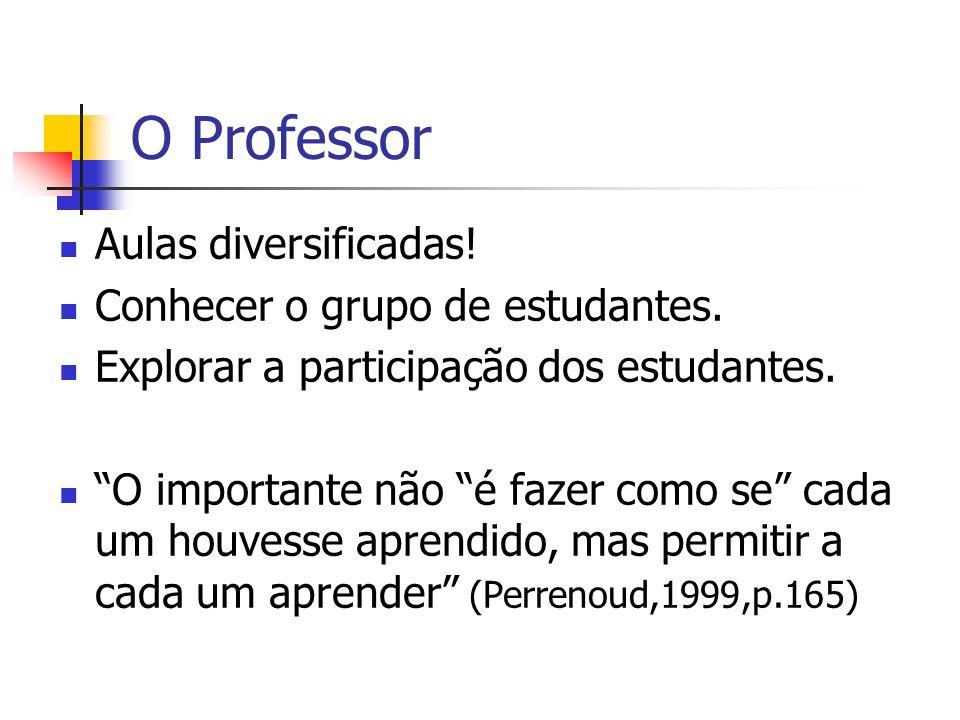 O Professor Aulas diversificadas! Conhecer o grupo de estudantes. Explorar a participação dos estudantes. O importante não é fazer como se cada um hou