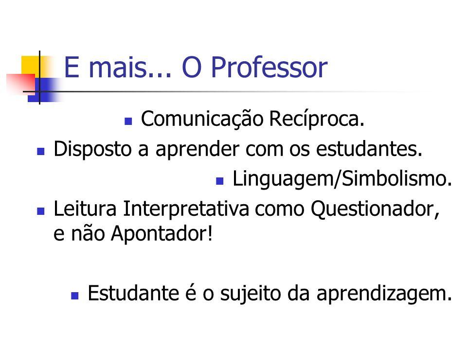 E mais... O Professor Comunicação Recíproca. Disposto a aprender com os estudantes. Linguagem/Simbolismo. Leitura Interpretativa como Questionador, e