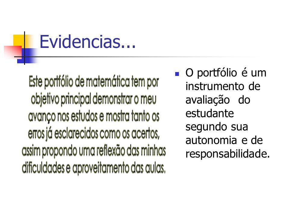 Evidencias... O portfólio é um instrumento de avaliação do estudante segundo sua autonomia e de responsabilidade.