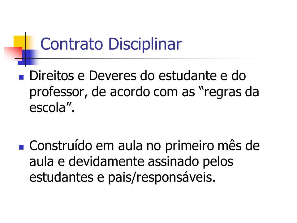 Contrato Disciplinar Direitos e Deveres do estudante e do professor, de acordo com as regras da escola. Construído em aula no primeiro mês de aula e d