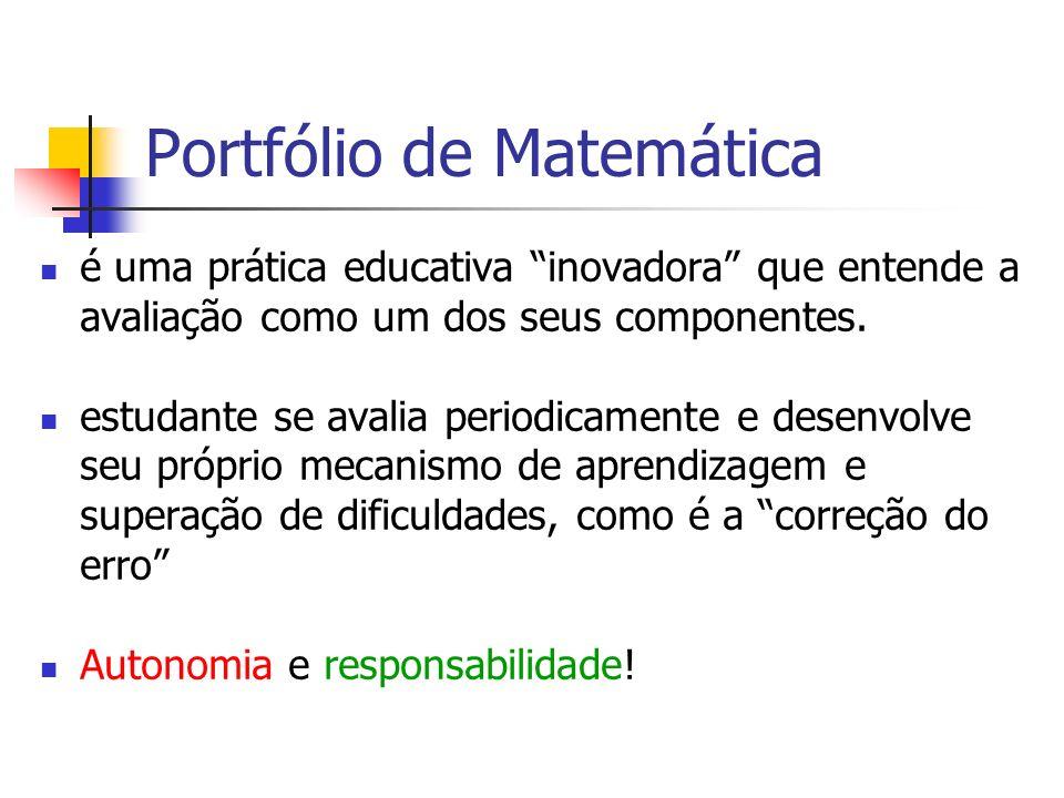 Portfólio de Matemática é uma prática educativa inovadora que entende a avaliação como um dos seus componentes. estudante se avalia periodicamente e d
