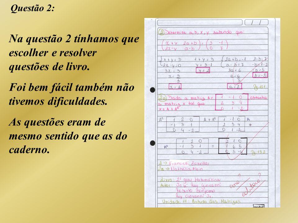 Questão 2: Na questão 2 tínhamos que escolher e resolver questões de livro. Foi bem fácil também não tivemos dificuldades. As questões eram de mesmo s