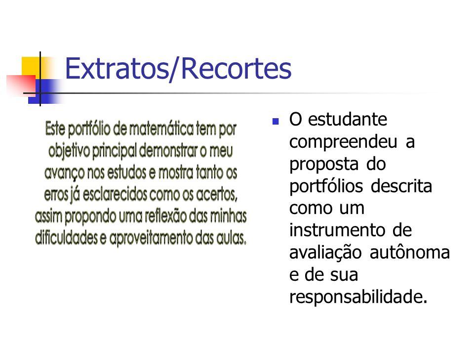 Extratos/Recortes O estudante compreendeu a proposta do portfólios descrita como um instrumento de avaliação autônoma e de sua responsabilidade.