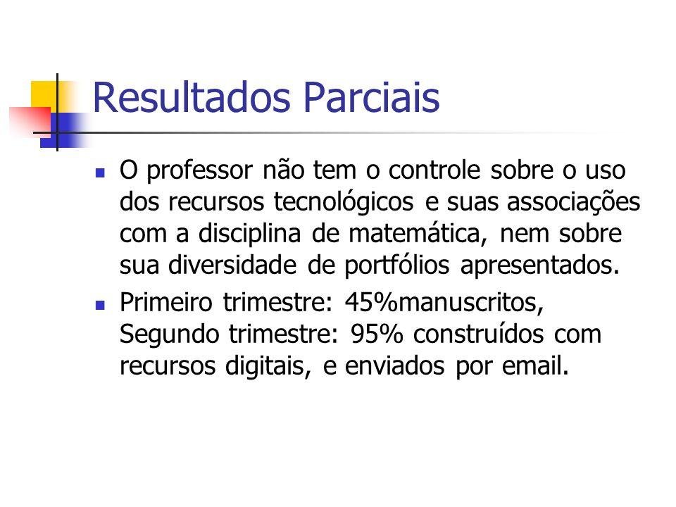 Resultados Parciais O professor não tem o controle sobre o uso dos recursos tecnológicos e suas associações com a disciplina de matemática, nem sobre