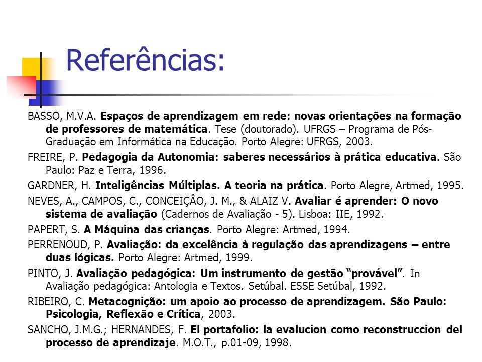 Referências: BASSO, M.V.A. Espaços de aprendizagem em rede: novas orientações na formação de professores de matemática. Tese (doutorado). UFRGS – Prog