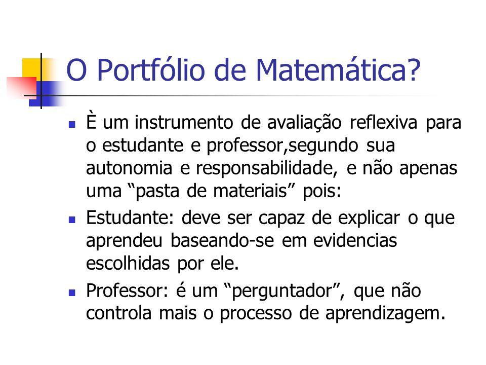 O Portfólio de Matemática? È um instrumento de avaliação reflexiva para o estudante e professor,segundo sua autonomia e responsabilidade, e não apenas