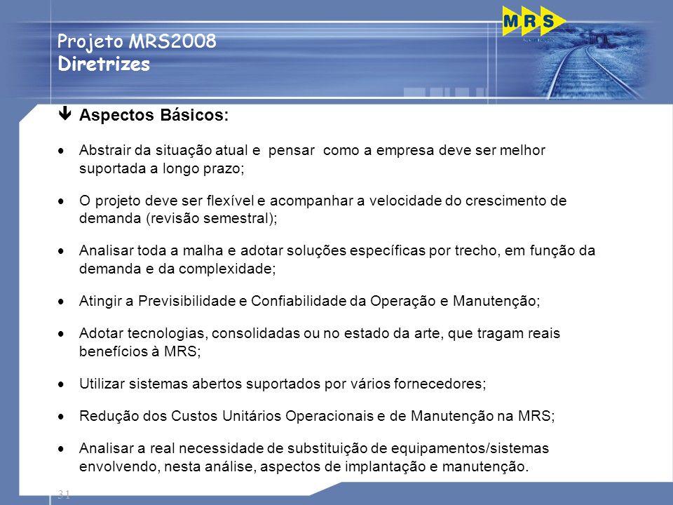 31 Projeto MRS2008 Diretrizes Passagens de Nível êAspectos Básicos: Abstrair da situação atual e pensar como a empresa deve ser melhor suportada a lon
