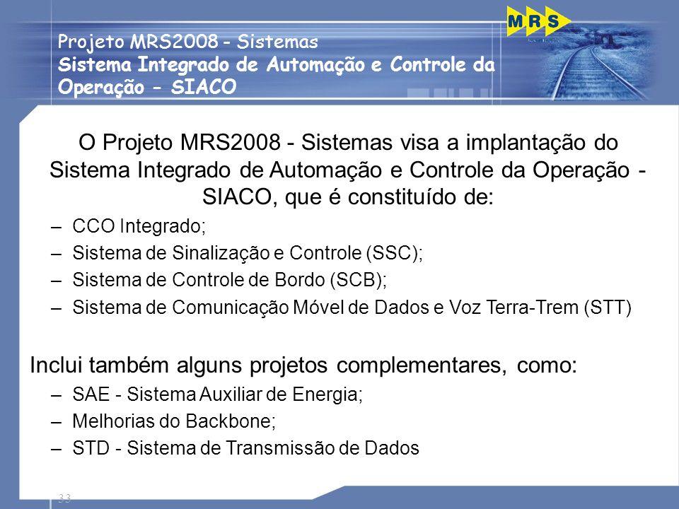 33 Projeto MRS2008 - Sistemas Sistema Integrado de Automação e Controle da Operação - SIACO Passagens de Nível O Projeto MRS2008 - Sistemas visa a imp