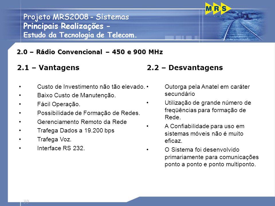 39 Projeto MRS2008 - Sistemas Principais Realizações - Estudo da Tecnologia de Telecom. 2.0 – Rádio Convencional – 450 e 900 MHz 2.1 – Vantagens Custo