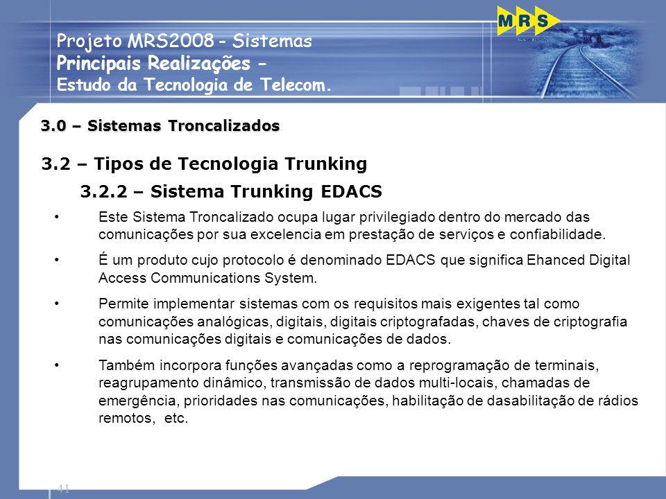 41 Projeto MRS2008 - Sistemas Principais Realizações - Estudo da Tecnologia de Telecom. Este Sistema Troncalizado ocupa lugar privilegiado dentro do m