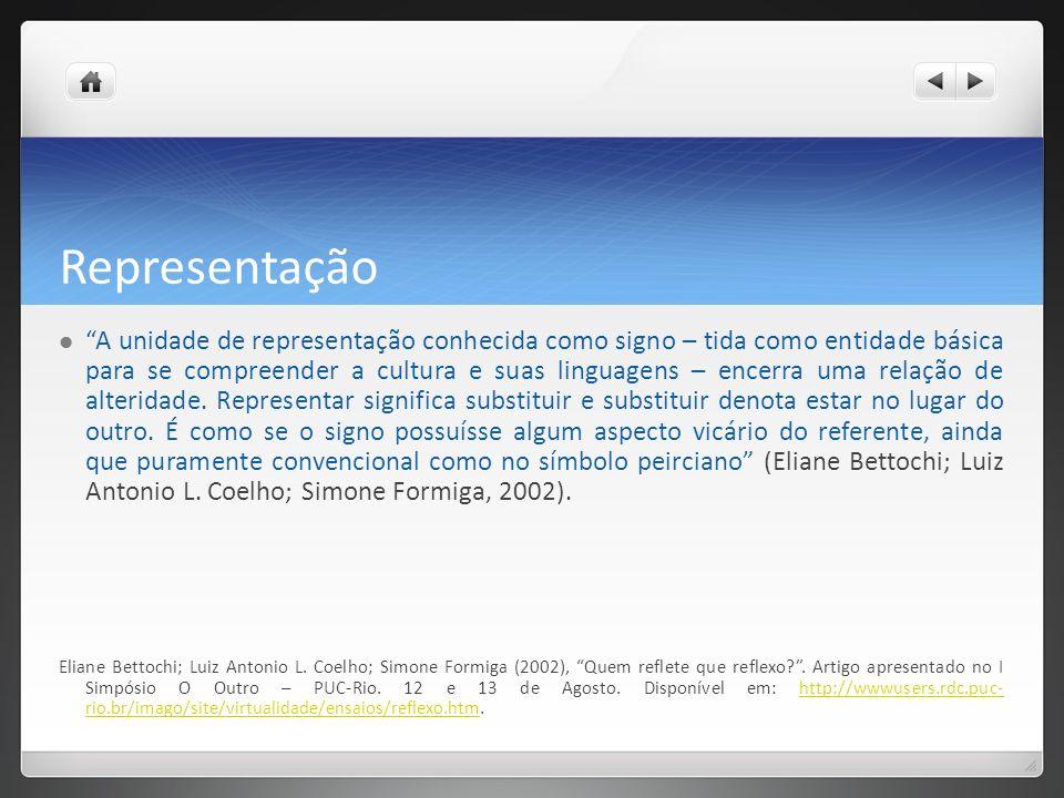 Representação A unidade de representação conhecida como signo – tida como entidade básica para se compreender a cultura e suas linguagens – encerra uma relação de alteridade.