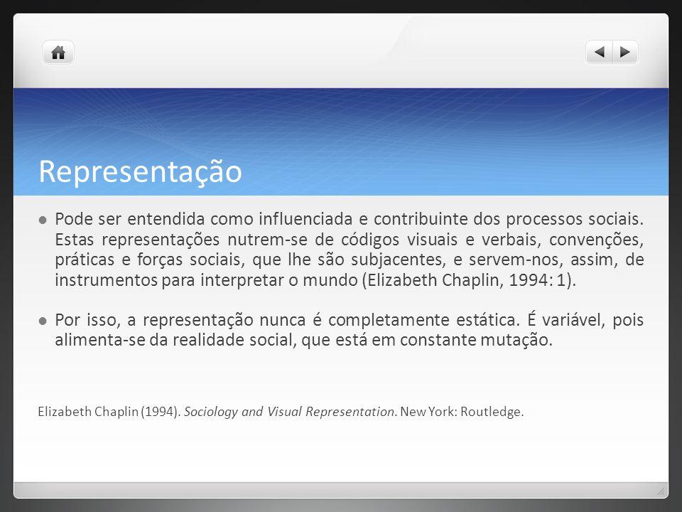 Representação Pode ser entendida como influenciada e contribuinte dos processos sociais.