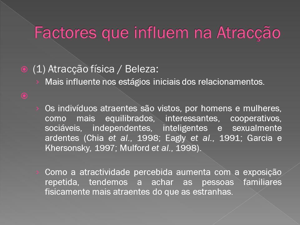(1) Atracção física / Beleza: Mais influente nos estágios iniciais dos relacionamentos. Os indivíduos atraentes são vistos, por homens e mulheres, com