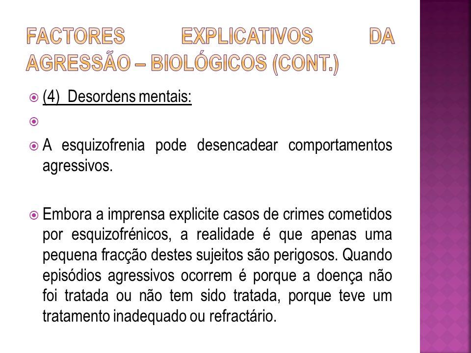 (4) Desordens mentais: A esquizofrenia pode desencadear comportamentos agressivos. Embora a imprensa explicite casos de crimes cometidos por esquizofr
