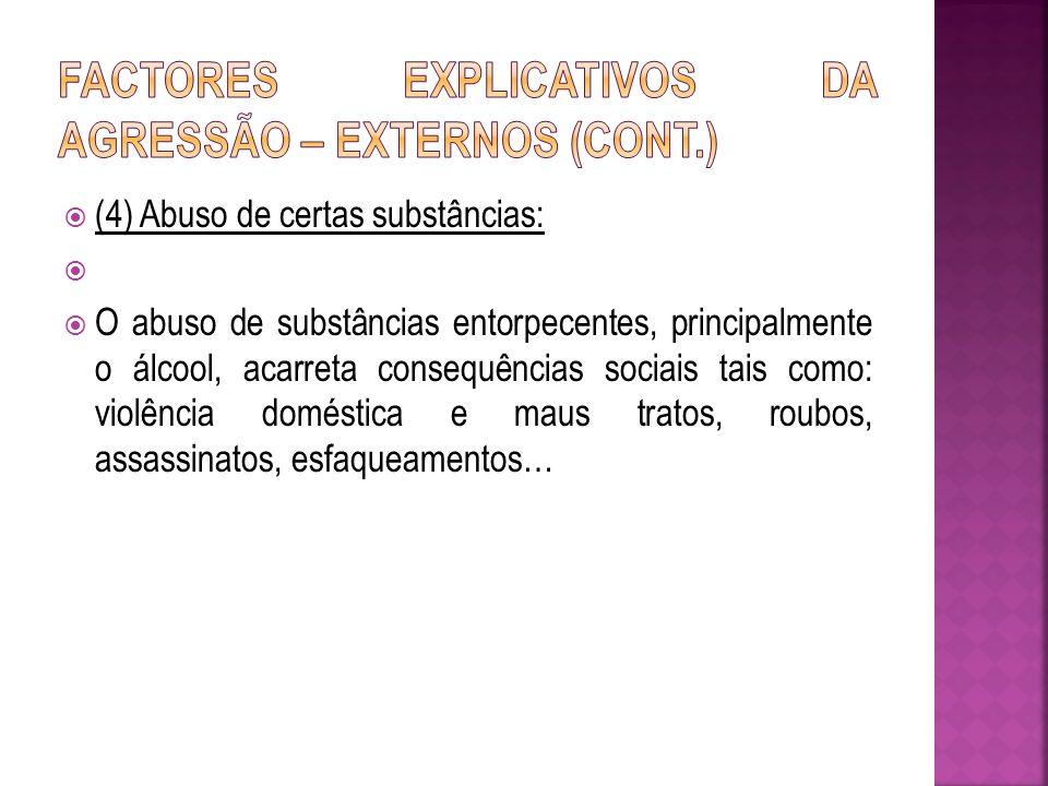 (4) Abuso de certas substâncias: O abuso de substâncias entorpecentes, principalmente o álcool, acarreta consequências sociais tais como: violência do