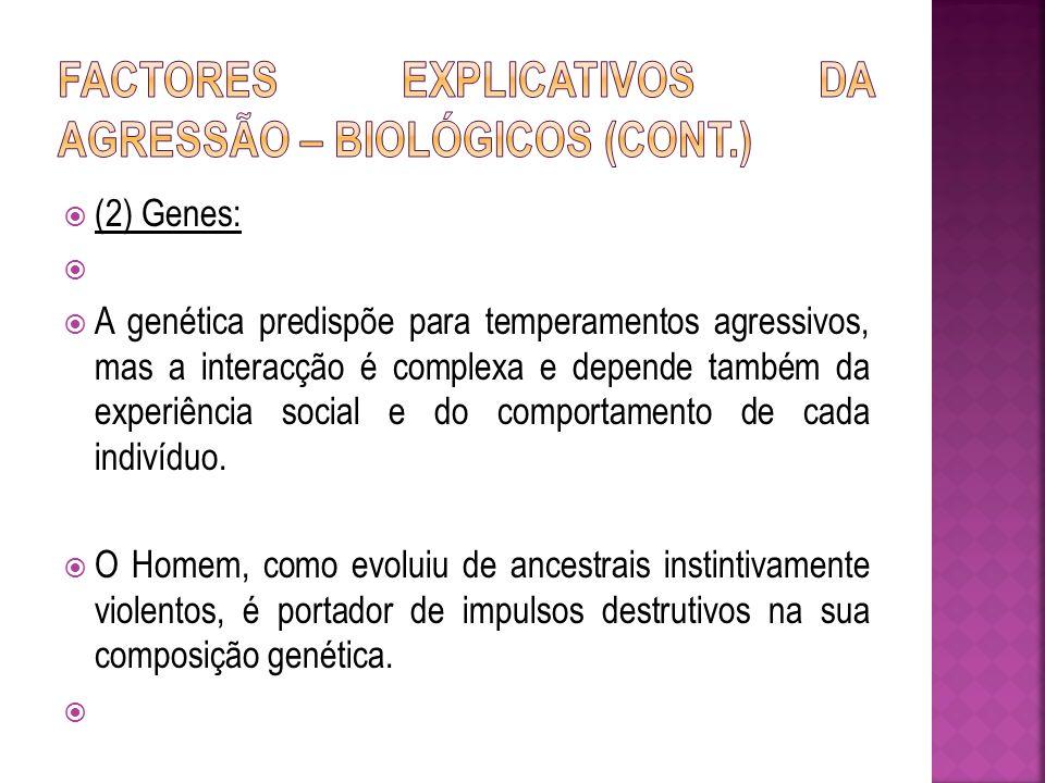 (2) Genes: A genética predispõe para temperamentos agressivos, mas a interacção é complexa e depende também da experiência social e do comportamento d