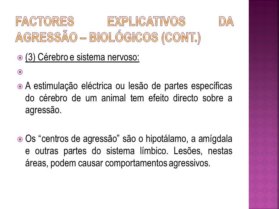 (3) Cérebro e sistema nervoso: A estimulação eléctrica ou lesão de partes específicas do cérebro de um animal tem efeito directo sobre a agressão. Os