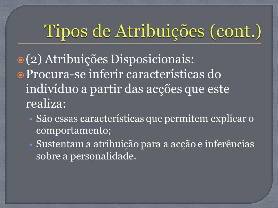 (2) Atribuições Disposicionais: Procura-se inferir características do indivíduo a partir das acções que este realiza: São essas características que pe