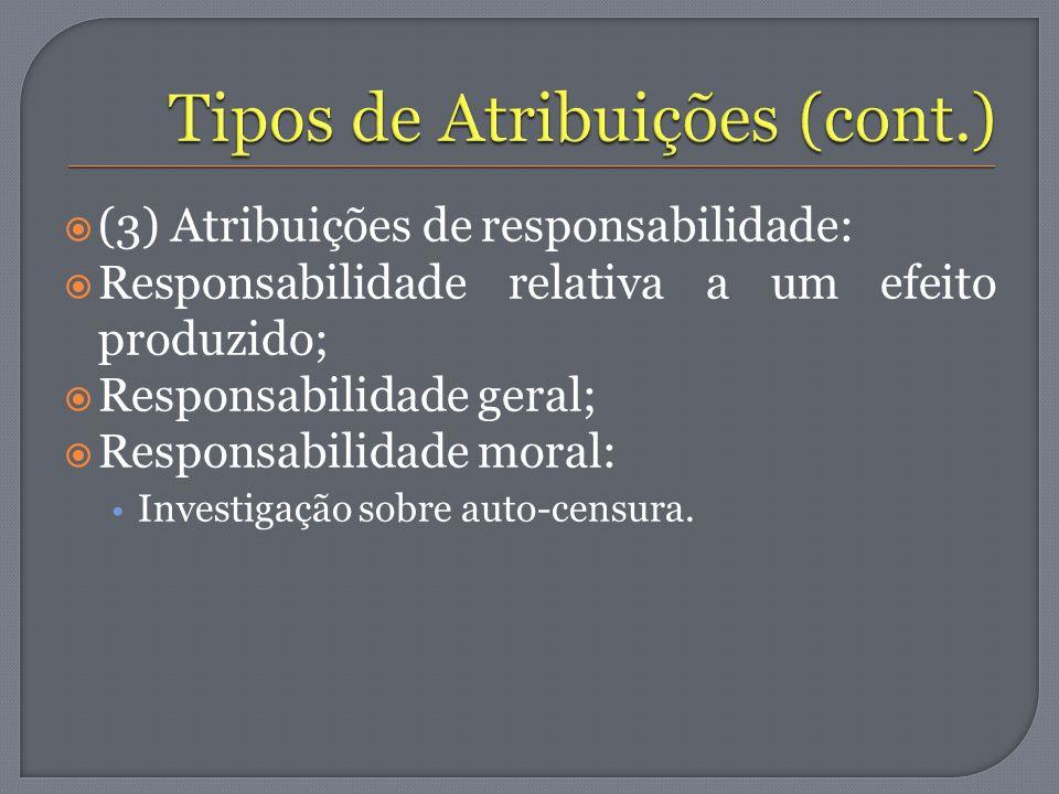 (3) Atribuições de responsabilidade: Responsabilidade relativa a um efeito produzido; Responsabilidade geral; Responsabilidade moral: Investigação sob