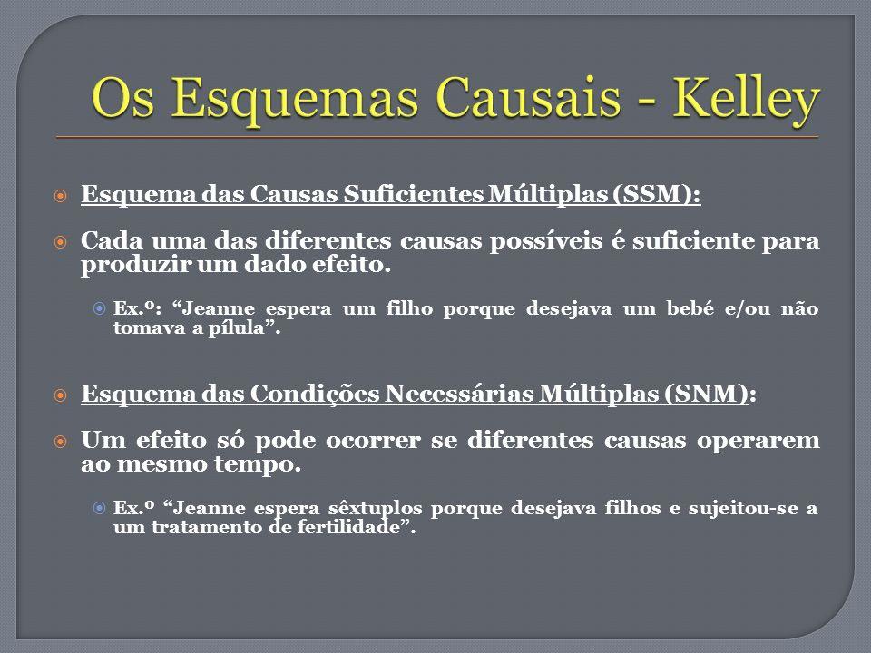 Esquema das Causas Suficientes Múltiplas (SSM): Cada uma das diferentes causas possíveis é suficiente para produzir um dado efeito. Ex.º: Jeanne esper
