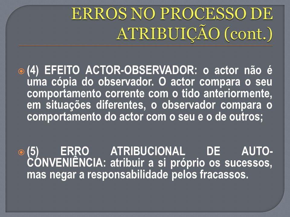 (4) EFEITO ACTOR-OBSERVADOR: o actor não é uma cópia do observador. O actor compara o seu comportamento corrente com o tido anteriormente, em situaçõe