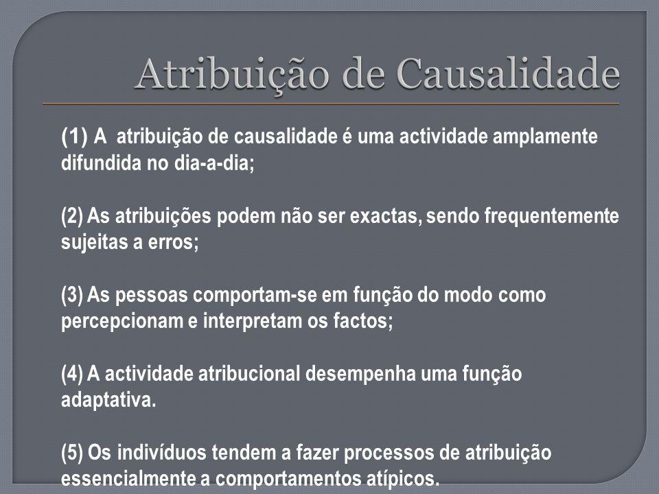 (1) A atribuição de causalidade é uma actividade amplamente difundida no dia-a-dia; (2) As atribuições podem não ser exactas, sendo frequentemente suj