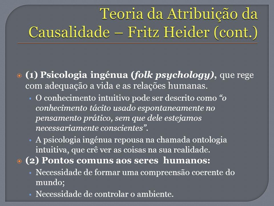 (1) Psicologia ingénua (folk psychology), que rege com adequação a vida e as relações humanas. O conhecimento intuitivo pode ser descrito como o conhe