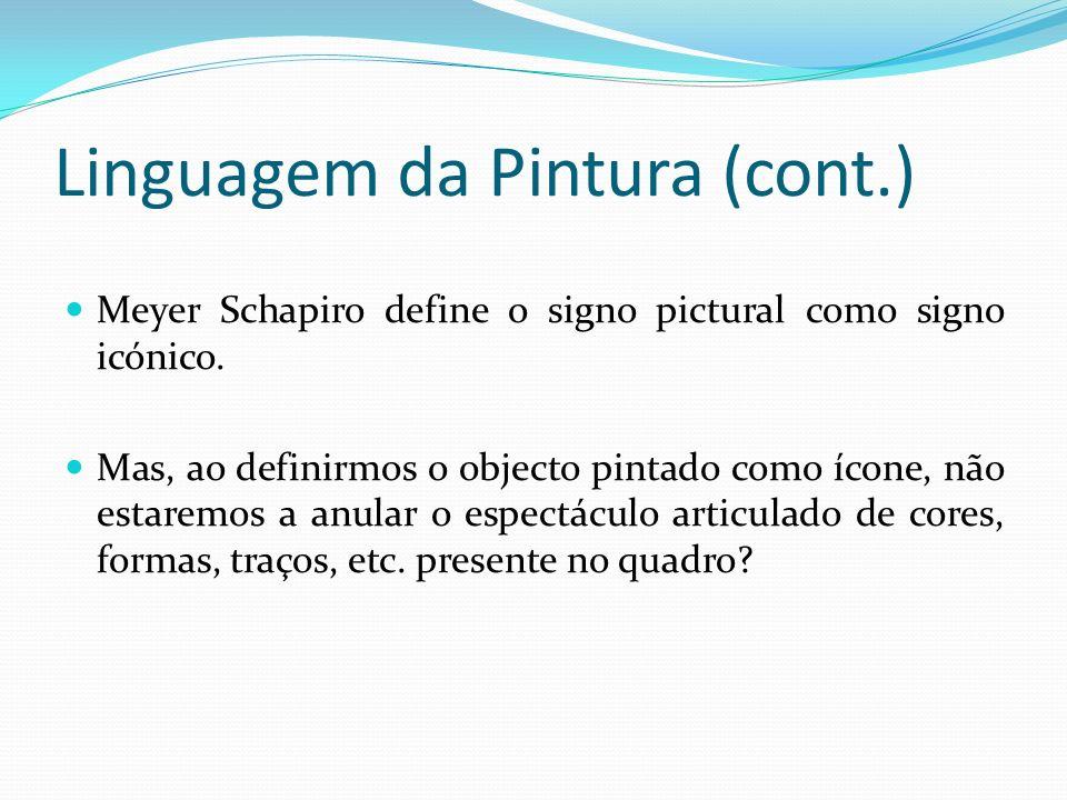 Linguagem da Pintura (cont.) Meyer Schapiro define o signo pictural como signo icónico.