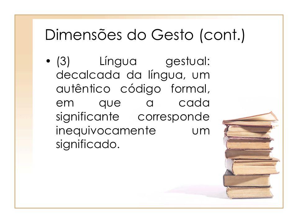 Dimensões do Gesto (cont.) (3) Língua gestual: decalcada da língua, um autêntico código formal, em que a cada significante corresponde inequivocamente