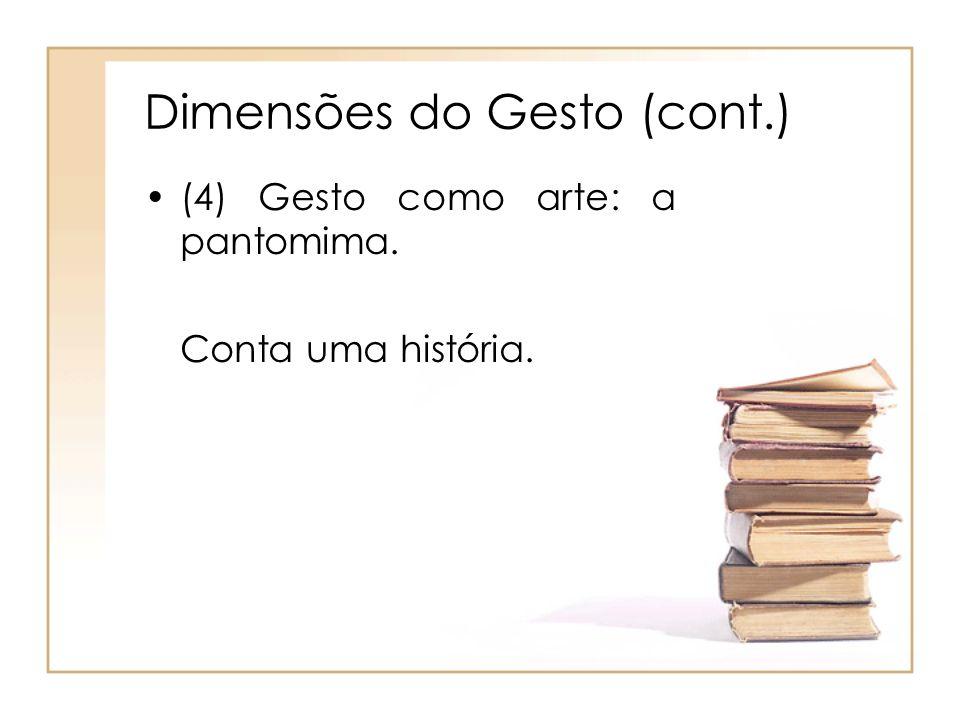 Dimensões do Gesto (cont.) (4) Gesto como arte: a pantomima. Conta uma história.