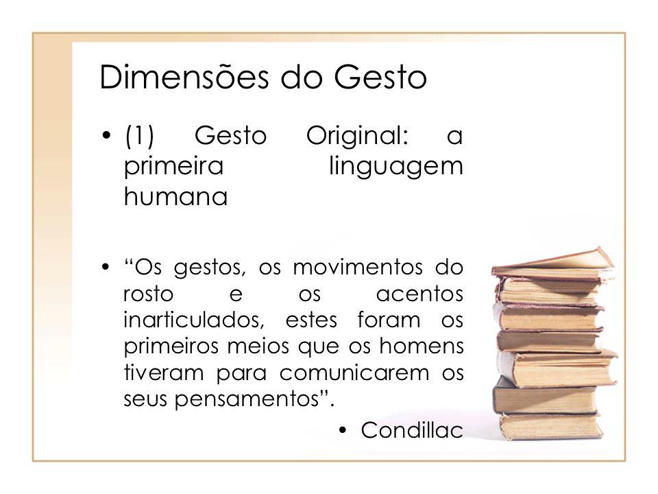 Dimensões do Gesto (1) Gesto Original: a primeira linguagem humana Os gestos, os movimentos do rosto e os acentos inarticulados, estes foram os primei