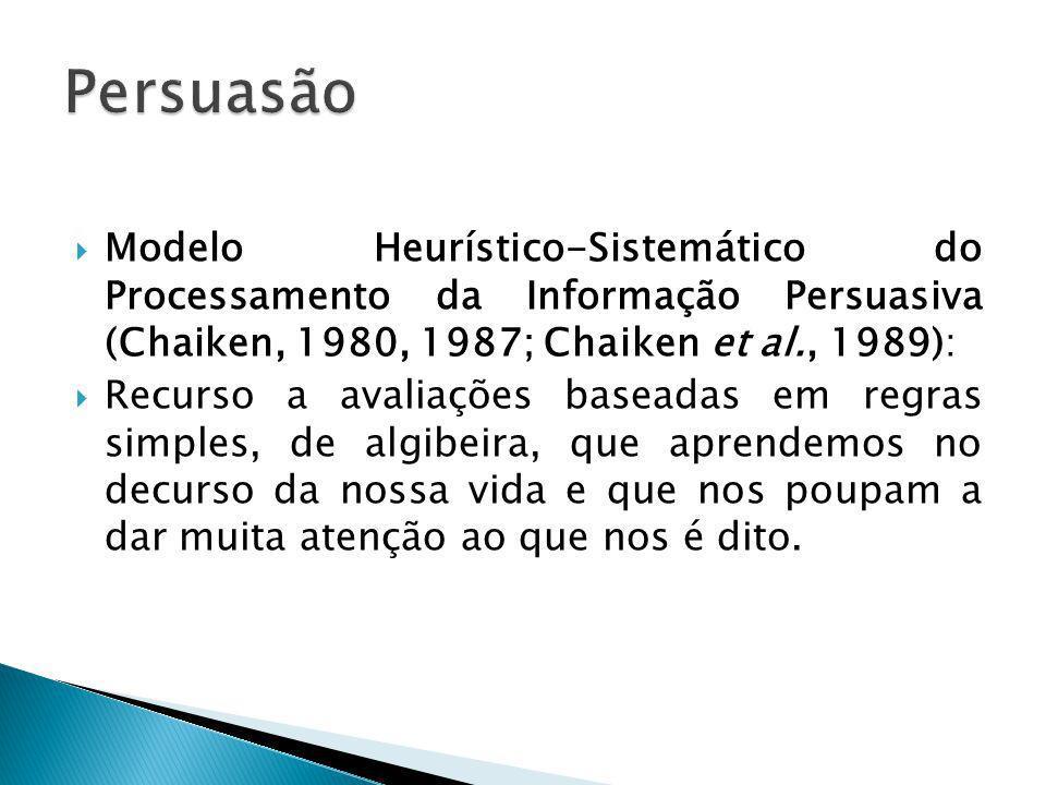 Modelo Heurístico-Sistemático do Processamento da Informação Persuasiva (Chaiken, 1980, 1987; Chaiken et al., 1989): Recurso a avaliações baseadas em