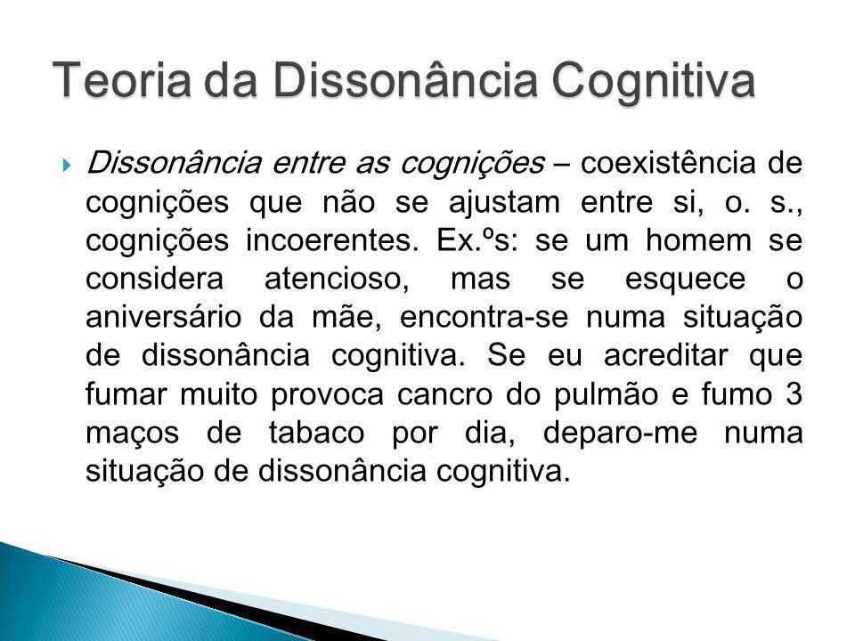 Dissonância entre as cognições – coexistência de cognições que não se ajustam entre si, o. s., cognições incoerentes. Ex.ºs: se um homem se considera